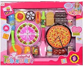 Emob Pizza Cooking and Cutting Tableware Kitchen Play Set Toy for Kids
