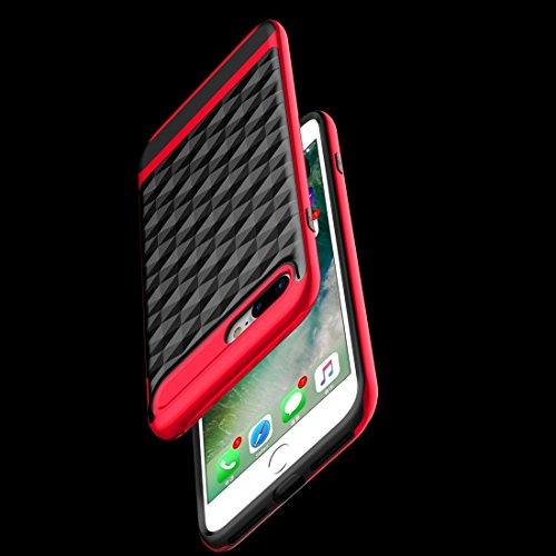 GR 3D Diamond PC + TPU Kombination Schutzhülle für iPhone 7 Plus ( Color : Silver ) Red