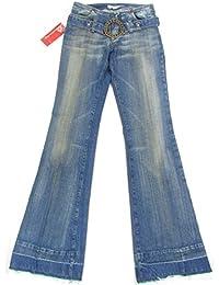 """FORNARINA """"70er Hippie Retro + Belt"""" Damen Schlaghosen Jeans Used-LookDenim (Blau)"""