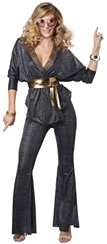 Ladies Disco Dazzler Glittery Costume with Gold Belt. XS to XL.