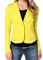 Generic Womens Slim Fit One Button Candy Color OL Jacket Blazer XS Yellow