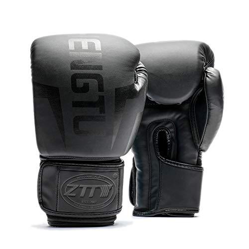 ZTTY Guantoni da Boxe, Sparring, Allenamento con Sacco da Boxe, MMA, Muay Thai, Kickboxing Adult Guantone da Combattimento Punching Black Mamba (12OZ)