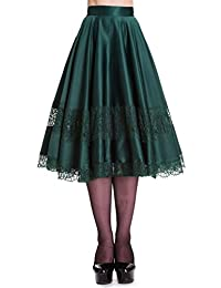 078729b1ae Hell Bunny 50's Green & red VTG Swing JIVE Rockabilly LACE Skirt XS S M L XL