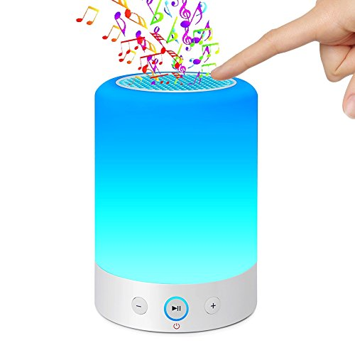 LIGHTSTORY Smart Light Lautsprecher - Nachttischlampe mit Bluetooth Speak, Sensitive Touch Sensor, Multi-Color Wickeltisch LED Lampe, Smart Portable Wireless Nachtlicht, Weiß