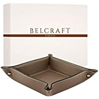 Orvieto Taschenleerer Leder, Handgearbeitet in klassischem italienischem Stil, Ordentlich Tablett, Geschenkschachtel inklusive Taupe (19x19 cm)