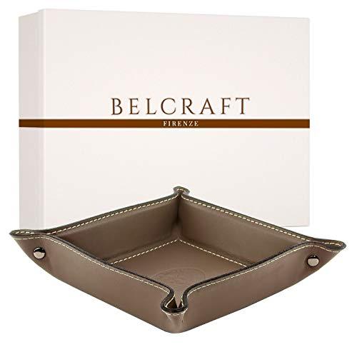 Belcraft Orvieto Vaciabolsillos de Piel Italiana, Hecho a Mano, Incluye Caja, Gris Topo (19x19 cm)