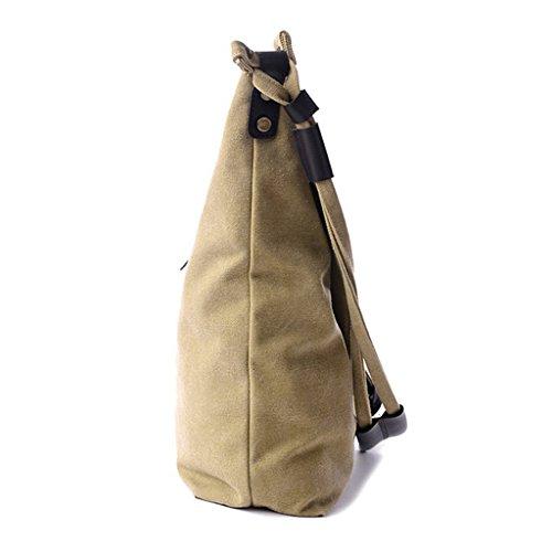 Oriskey Unisex Damen Canvas Schultasche Handtasche Umhängetasche Tasche Messenger Bag Shopper Schultertasche Grau Khaki