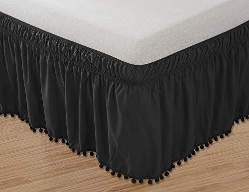 Elegant Comfort Elastische Bettumrandung, knitterfest, 40,6 cm lang Modern Queen/King schwarz