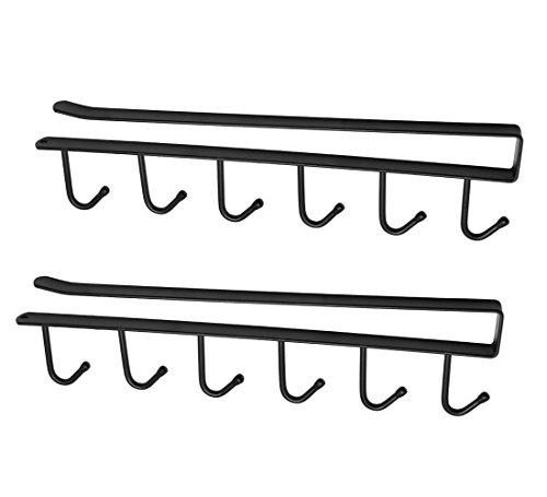 Hysagtek 2 Stück Tassenhalter unter dem Schrank Regal Tassenhalter 6 Haken Krawatten-/Gürtel-/Handtuchhalter Organizer Aufbewahrung Trockenhalter Ablage, ohne Bohren, schwarz