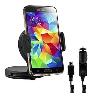 kwmobile KFZ Halterung für Samsung Galaxy S5 / S5 Neo / S5 LTE+ / S5 Duos - PKW Auto Halter Scheibe oder Amaturenbrett Klebe Pad in Schwarz + Ladegerät