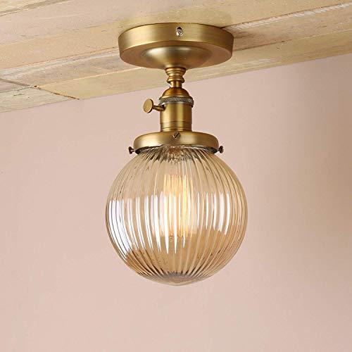 1949shop Industrielle Vintage Moderne Pendelleuchten Unterputz Edison Deckenleuchte Loft Bar Küche Insel Leuchte Armaturen Kronleuchter mit Bernstein gerippt Globus Glas Licht Schatten (Antik) -