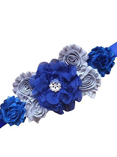 Faja de maternidad, de Lemandy, con flores, hecho a mano, de verano, de satén, accesorios para bodas royal blue +silver Talla única