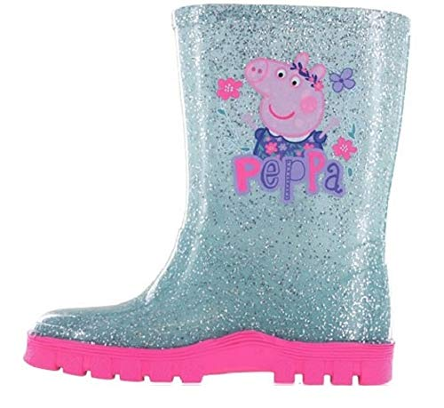 Girls Kids Peppa Pig Wellies Wellington Boots Rain Shoe Official Ankle Length Size 5 6 7 8 9 10