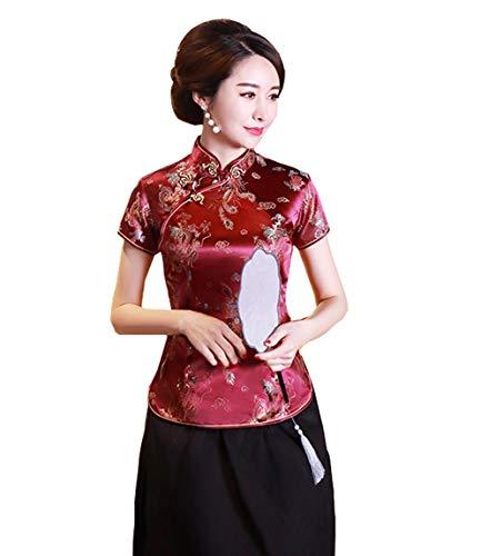 ACVIP Damen Drache Phoenix Qipao Top Kurzarm Stehkragen Chinesische Bluse Oberteile(China 4XL/EU 46,Weinrot)