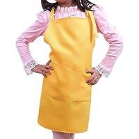 WARRAH Bambini Bavaglino Grembiule Spun poliestere - resistente, confortevole, Easy Care Grembiuli Grembiule per la cottura, grill e cottura grembiule con regolabile laccio-cucina, Aula, evento comunitario, Artigianato & Arte Pittura Activity Giallo