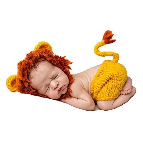 Löwe Kostüm Infant Kleidung Outfit Foto Requisiten Crochet Knit Hat Pants Set 0–6Monate (Baby Lion Kostüme)