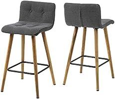 AC design furniture 60492 lot de 2 tabourets de bar à charlotte pages-boutons en tissu gris foncé/gris clair/gris