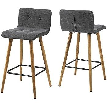 AC Design Furniture, 60492, Set di 2 sgabelli alti Charlotte, Grigio (Grau)