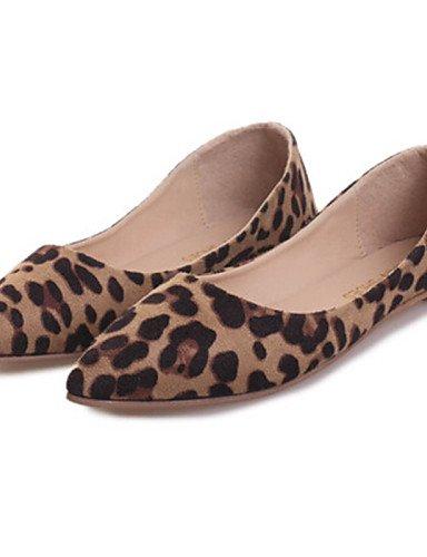 PDX/femme Chaussures Talon Plat Bout Pointu Chaussures plates décontracté Noir/gris/imprimé animal
