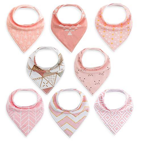 FUTURE FOUNDER 8er Baby Dreieckstuch Mädchen Lätzchen rosa Saugfähig Weich Baumwolle Halstücher Spucktuch Mit Druckknöpfen Multifunctional Baby (Für Mädchen Tücher Baby)