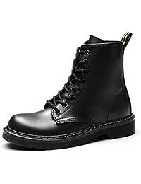 Gracosy Martin Boots Invierno Zapatos Botines, Mujer Unisex Botas Zapatos Invierno Impermeable Martin Botas de Nieve Fur Calentar Botines Planos Lana Interno Moda Cálido