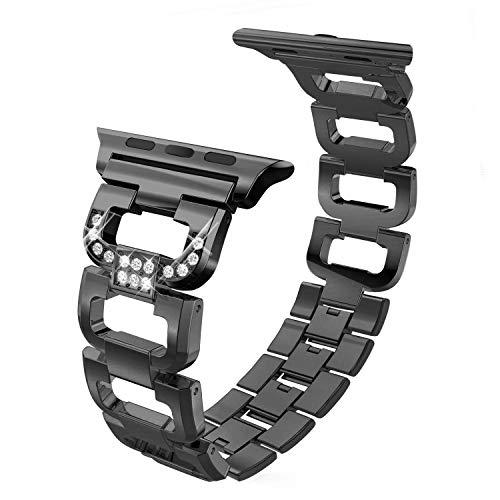 hooroor Armband Kompatibel für Apple Watch Series 4 Series 3 Series 2, Premium-Edelstahl-D-Style-Armband für Apple Watch (Schwarz 38mm/40mm)