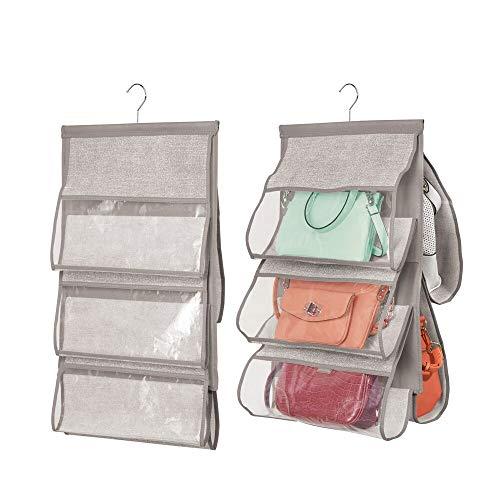 mDesign 2er-Set Handtaschen Ablage - hängender Stoffschrank - Hängeaufbewahrung für bis zu 5 Taschen - clevere Aufbewahrung - grau