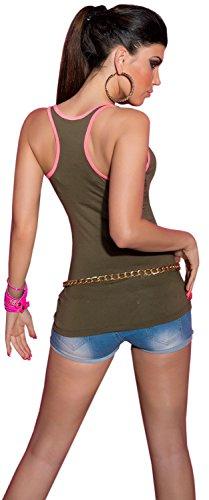 Koucla femme top cARRIER-uni avec bordure neonfarbenem taille unique (convient du 34 au 40) Vert - Kaki