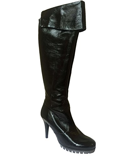 Kennel & Schmenger , Bottes longues femme Black Patent w/ Tread Sole