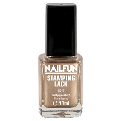 NAILFUN Stampinglack GOLD 11ml Pinselflasche - Stamping Nagellack - 1 x 11ml