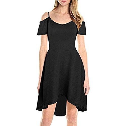 Xinxinyu Damen Kleid, Sommerkleid Kalt aus der Schulter } Lässig { Puff Sleeve Sundress} Lady { Gurt Kleid } (Schwarz, XL) Puff Sleeve Swing