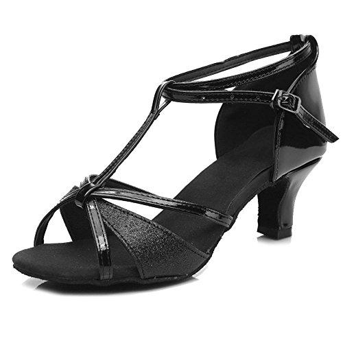 YFF Ragazze donne sala da ballo del tango latino della salsa scarpe da ballo 5cm e 7cm di tacco Black 5cm