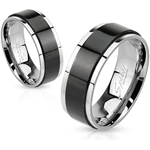 Paula & Fritz anello in acciaio INOX chirurgico 316L 6 o di 8 mm di larghezza con Spinner Band anello Taglie disponibili nera 47 (15) - 72 (23) R-H1658