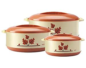 Milton Orchid Insulated Plastic Casserole Gift Set, 3-Pieces, Light Brown