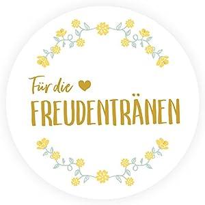 50 Freudentränen Sticker - Wunderschöne, runde Aufkleber zur Hochzeit - Blumenkranz, gold, DIY Wedding, Ø 4cm - Passend für Taschentücher