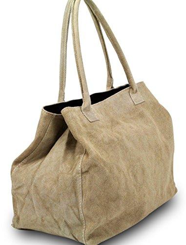 Made in Italy Damen Schultertasche Beuteltasche Shopper Wildleder Leder Bag, Farbe:Schwarz Taupe-Hell