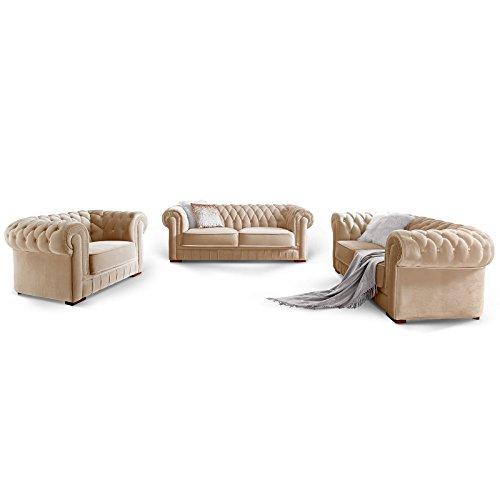 Moebella Chesterfield Sofa-Garnitur 3-2-1 Samtstoff Knopfheftung Modern Designer Couch (Creme)