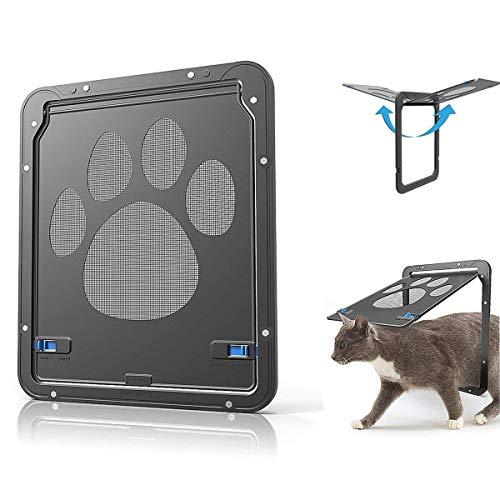 Ownpets Haustier-Tür, magnetische Klappe, automatische verschließbare Schwarze Tür für kleine Hunde und Katzen, 29,2 x 24,1 cm -