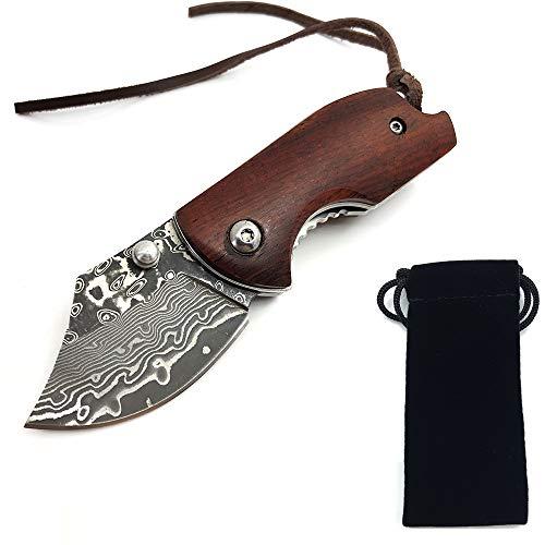 AUBEY EDC Messer Klein Klappmesser Holzgriff Taschenmesser Mini Einhandmesser Outdoor Survival Folder Pocket Knife D2 Stahl (Braun) -