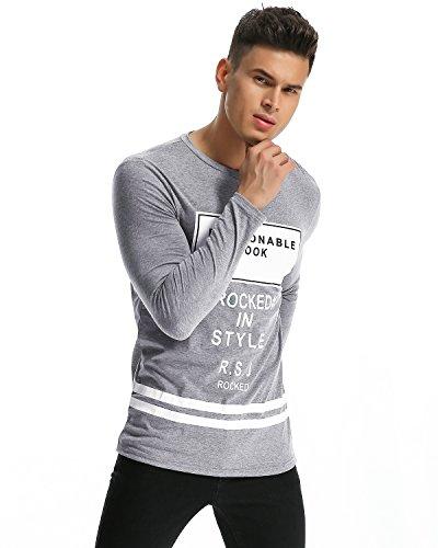 MODCHOK Herren Shirt Sweatshirt Drucken Langarmshirt Freizeitshirt Rundhals Hemd Basic T-Shirt Hellgrau