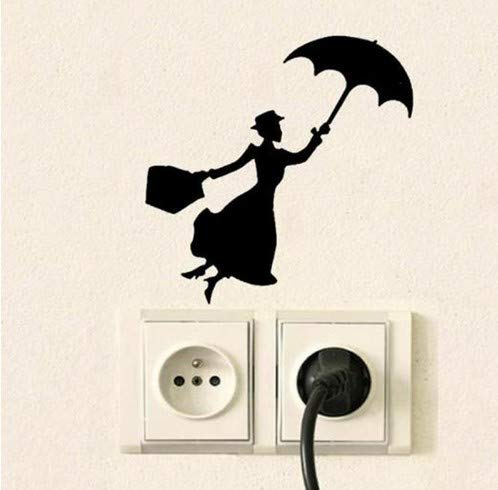 CCM Mary Poppins Silhouette Interrupteur Autocollant Fille Decal Pépinière Décoration Murale Escalade Lumière Interrupteur Autocollant Fée Assis Interrupteur Autocollant