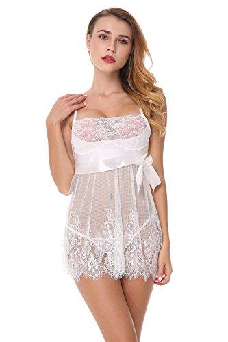 Yidarton Damen Negligee Spitze Dessous Set Nachtwäsche Nachtmaentel mit String Nachtkleid Satin Nachthemd Kimono Weiß
