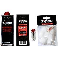 Zippo Zubehör - Starterset - bestehend aus 1 x Original Zippo Feuerzeugbenzin 125 ml ,1 x Ersatzdocht, 6 x Feuersteine, 1 x Watte & Filz
