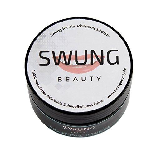 SWUNG Beauty | Premium Aktivkohle Pulver zur natürlichen Zahnaufhellung | Zahnbleaching 100% VEGAN | Activated Charcoal | Bleaching Zähne | Zahnpasta weisse Zähne -