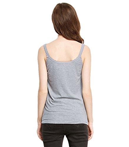 Liang Rou Camisole côtelée en tricot avec dentelle pour femmes 1 x Col rond Gris