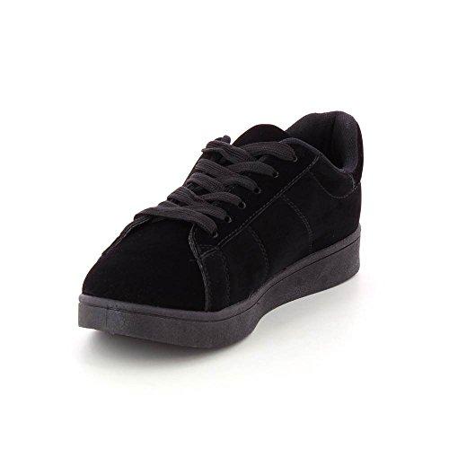 Scarpe sportive stile camoscio morbidi con piattaforma 2 cm Nero