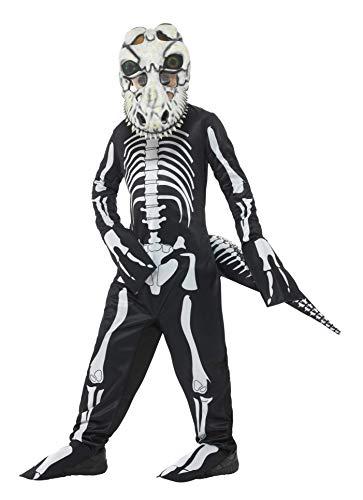x T-Rex Skelett Kostüm, Ganzkörper Anzug, Schwanz und Maske mit linsenförmigen 3D Augen, Alter: 10-12 Jahre, 48006 ()