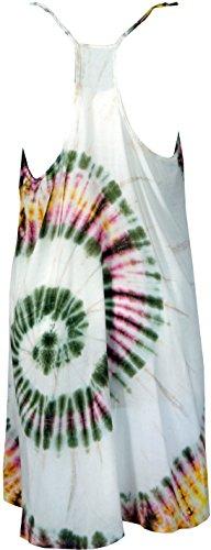Guru-Shop Batik Minikleid, Tunika Hippie Chic, Strandkleid, Sommerkleid, Damen, Grün, Viskose, Size:42, Kurze Kleider Alternative Bekleidung Weiß