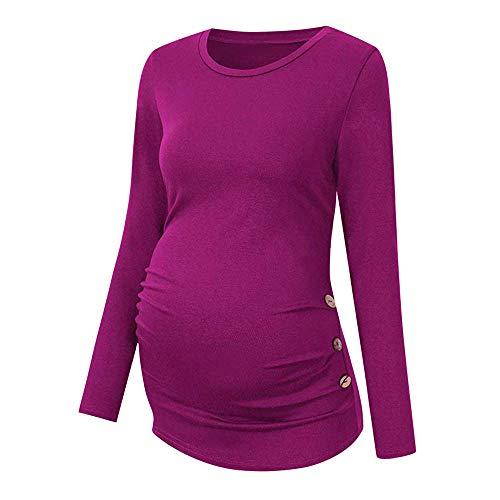 Amphia - Umstandsmode T-Shirt - Womens Side Buckle und Wrinkled Schwangere Langarm-Shirt für Frauen(Lila,XL)