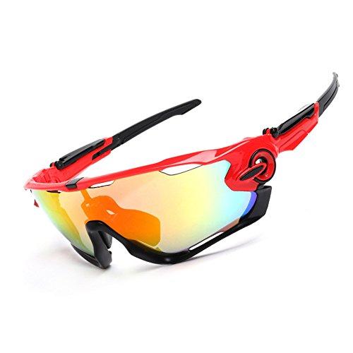 Spohife Gafas de sol deportivas, protección UV 400, irrompibles, con 3 juegos de lentes intercambiables, gafas protectoras unisex, para ciclismo, esquí, pesca, golf, etc., rojo